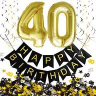 40. Geburtstag Party Deko Set - Girlande + Zahl 40 Ballons + Spiral Deckenhänger + Konfetti