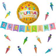 Schuleinführung Schulanfang Einschulung Deko Set - Schulkind Girlande + Luftballon + Zuckertüten Konfetti