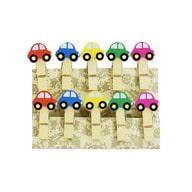 10 Mini Wäscheklammern Holz Miniklammern Deko Klammern - bunte Autos