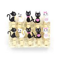 10 Mini Wäscheklammern Holz Miniklammern Deko Klammern - Katzen