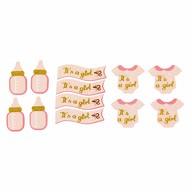 12x Konfetti - Fläschchen + Banner + Body Tischdeko Baby Shower Babyparty Mädchen - rosa