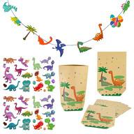 Dino Party Kinder Geburtstag Deko Set - Girlande + Temporäre Tattoos + Geschenktüten - für Jungs