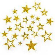 20 Glitzernde Funkelnde Sterne Sticker Aufkleber - gold