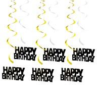 6 Spiral Wirbel Deckenhänger Girlanden Happy Birthday Geburtstag Jubiläum mit Bändern Ösen - Farbmix