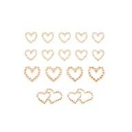 16 Herz Sticker Strass Steine Aufkleber Hochzeit JGA Valentinstag Deko - champagner