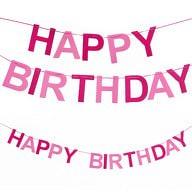 Happy Birthday Girlande Banner Geburtstag Party Mädchen - pink-rosa