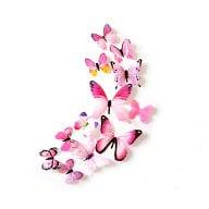3D Schmetterlinge 12er Set Wandtattoo Wandsticker Wanddeko - Real rosa