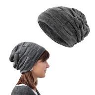 Long Beanie XXL Slouch Winter Mütze Grobstrick Damen Herren Kinder - grau