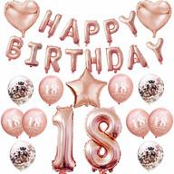 18. Geburtstag Party Deko Set - Happy Birthday + Zahl 18 Ballons + Konfetti Luftballons roségold
