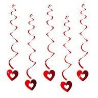 5 Girlande Spiral Wirbel Deckenhänger mit Herz offen - rot