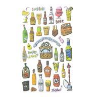 Getränke Drinks Aufkleber Retro Party Sticker Set Vintage Style Basteln Geschenk Deko