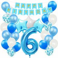 6. Geburtstag Party Deko Set - Happy Birthday Girlande + Zahl 6 Ballon + Konfetti Luftballons + Sterne