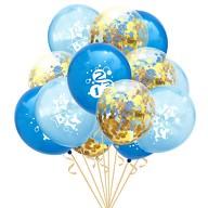 Konfetti Luftballon Set für Schuleinführung Schulanfang Deko Ballons blau gold