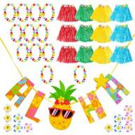 Hawaii Party Kostüm Accessoire XXL 12er Set - Blumenketten + Aloha Girlande + Röcke + Haarspangen
