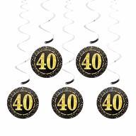 5 Deckenhänger Wirbel Spiral Girlanden mit Zahl 40 Geburtstag Jubiläum Party Feier Deko