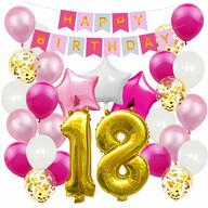 18. Geburtstag Party Deko Set - Happy Birthday Girlande + Zahl 18 Ballon + Konfetti Luftballons + Sterne