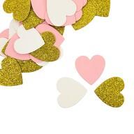 Papier Konfetti Herzen 36 Stk. Tischdeko Hochzeit JGA - rosa weiß gold