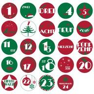 24 Adventskalender Sticker Zahlen Aufkleber Weihnachten Basteln Weihnachtsdeko - rot grün