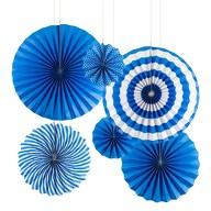 6 Papier Fächer Deko Rosetten Hochzeit Jubiläum Geburtstag Party dunkelblau weiß