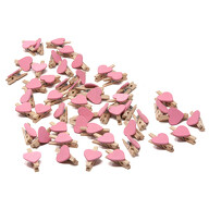 50 Mini Herz Holz Wäscheklammern Holz Miniklammern mit Herzen kleine Deko Klammern Hochzeit - rosa