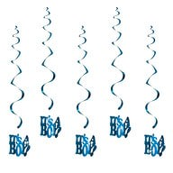 5 Girlande Spiral Deckenhänger Baby Shower Its a Boy - blau