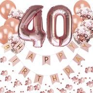 40. Geburtstag Party Deko Set - Girlande + Zahl 40 Ballons + Konfetti Luftballon Set + Konfetti