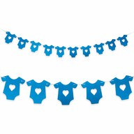 Girlande Baby Shower Baby Party Schwangerschaft - Hemdchen blau