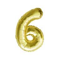 1x Folien Luftballon mit Zahl 6 Geburtstag Jubiläum Party Deko Ballon - gold