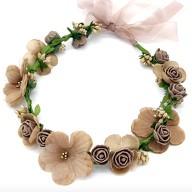 Blumen Haarband Stirnband Haarschmuck Bohemia Kopfschmuck - braun beige