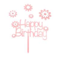 Torten Topper Kuchen Muffin Cupcake Aufsatz Happy Birthday Kinder Geburtstag Jubliäum Deko - rosa