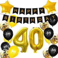 40. Geburtstag Party Deko Set - Happy Birthday Girlande + Zahl 40 Ballons + Konfetti Luftballons