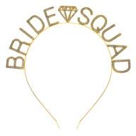 Haarreif Haarreifen Glitzer Schriftzug Bride Squad Brautjungfer JGA Junggesellinnenabschied gold