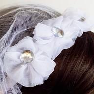 Haarreifen Brautschleier mit Strasssteinen JGA Hochzeit Schleier