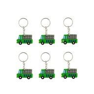 6x Schlüsselanhänger Auto LKW Anhänger Kinder Geburtstag Mitgebsel - grün