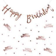 Happy Birthday Geburtstag Party Deko Set - Girlande + Punkt Konfetti - roségold