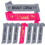 Schärpe Braut + Braut Crew Set JGA Hen Party Hochzeit Herzen pink grau