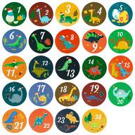 24 Adventskalender Sticker Zahlen Aufkleber mit Dino Motiven Weihnachten Basteln Weihnachtsdeko