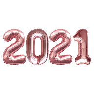 Folien Luftballon Zahl 2021 Silvester Neujahr Party Deko Ballons Zahlenballons - rosé gold