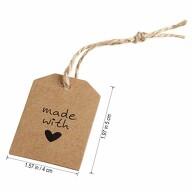 20 Geschenkanhänger Etiketten Hochzeitsdeko Geschenkdeko Anhänger mit Schnur und made with Love Motiv