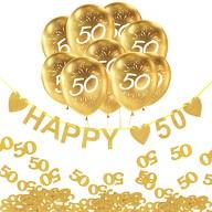 50. Geburtstag Goldene Hochzeit Deko Set - Happy 50 Girlande + Luftballons Zahl 50 + Konfetti