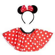 Damen Maus Mouse Kostüm - Rock + Haarreifen mit Maus Ohren und Schleife gepunktet rot weiß schwarz