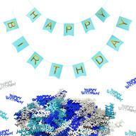 Happy Birthday Geburtstag Party Deko Set - Happy Birthday Girlande + Happy Birthday Konfetti