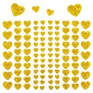 106 Herz Sticker Aufkleber Set mit Glitzer Scrapbooking - gold