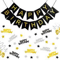 Geburtstag Party Deko Set - Happy Birthday Girlande + Konfetti Hängedeko Streudeko gold schwarz