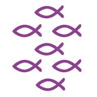 18 Holz Fische Streudeko Taufe Kommunion Konfirmation - Echtholz lila