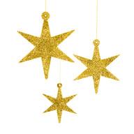 3 Holz Sterne mit Glitzereffekt Schnur Weihnachtsdeko Weihnachtsbaum Anhänger Weihnachten gold