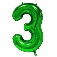 1x Folien Luftballon mit Zahl 3 Kinder Geburtstag Jubiläum Silvester Party Deko Ballon grün