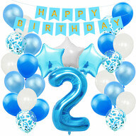 2. Geburtstag Party Deko Set - Happy Birthday Girlande + Zahl 2 Ballon + Konfetti Luftballons + Sterne