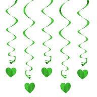 5 Girlande Spiral Deckenhänger mit Herz - grün