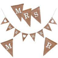Mr & Mrs Hochzeit Girlande Banner - Jute